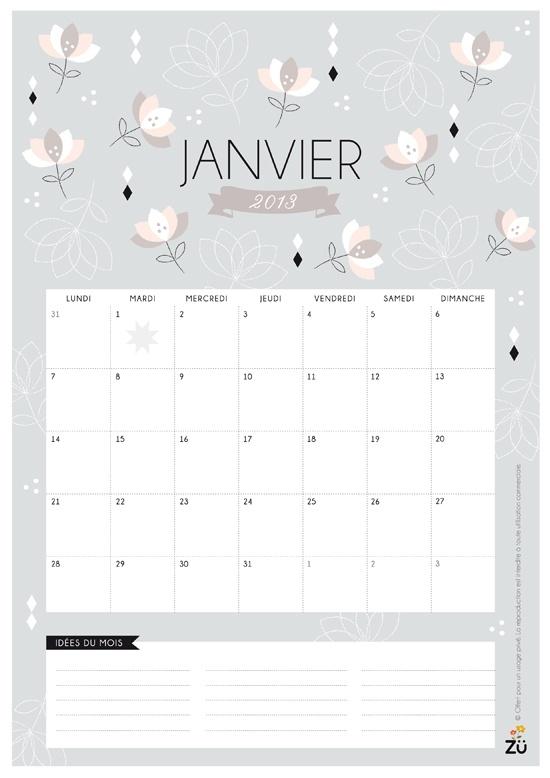 calendario janvier