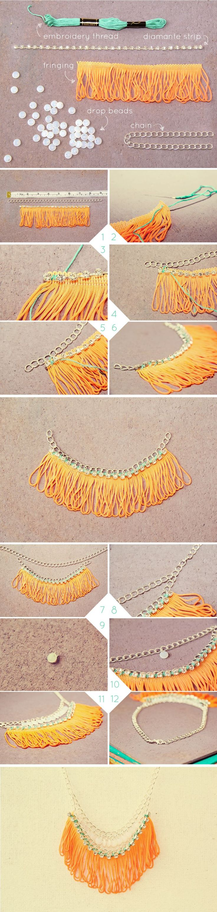 collar naranja diy