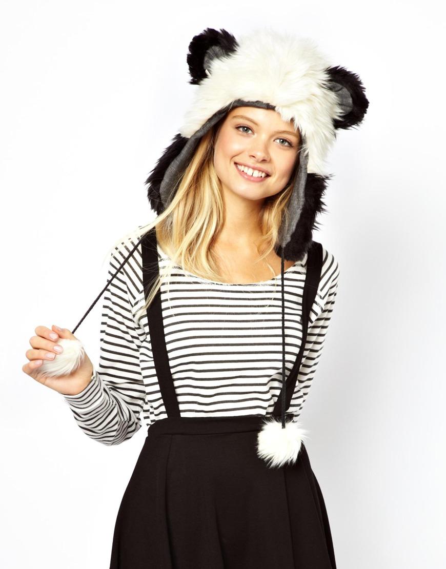 gorro lana panda