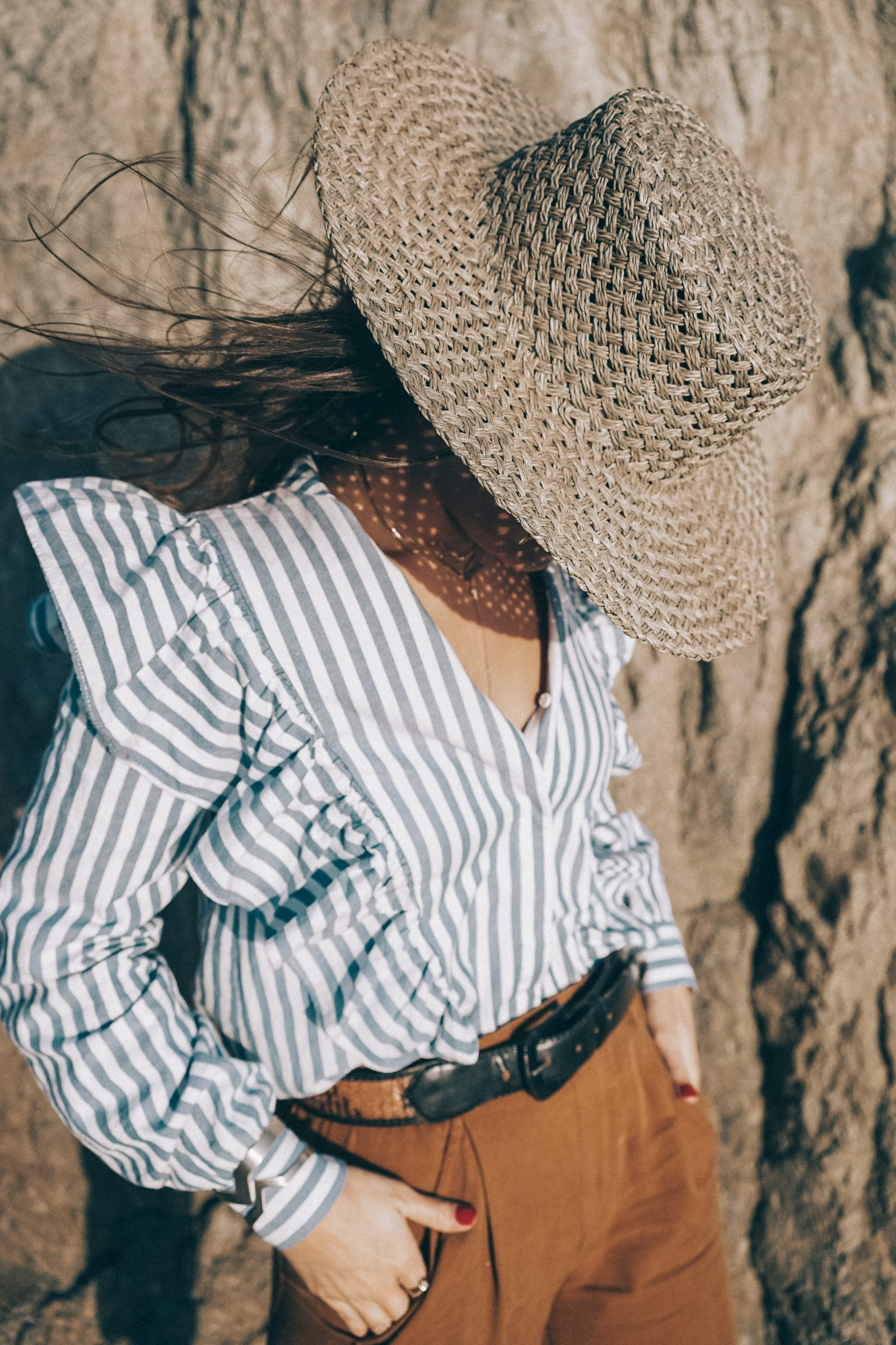 _Stripped_Blouse-Camel_
